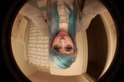 blue and white hair on tumblr