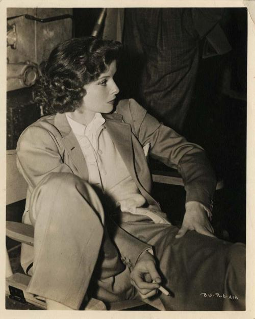 Katharine Hepburn on the set of Bringing Up Baby