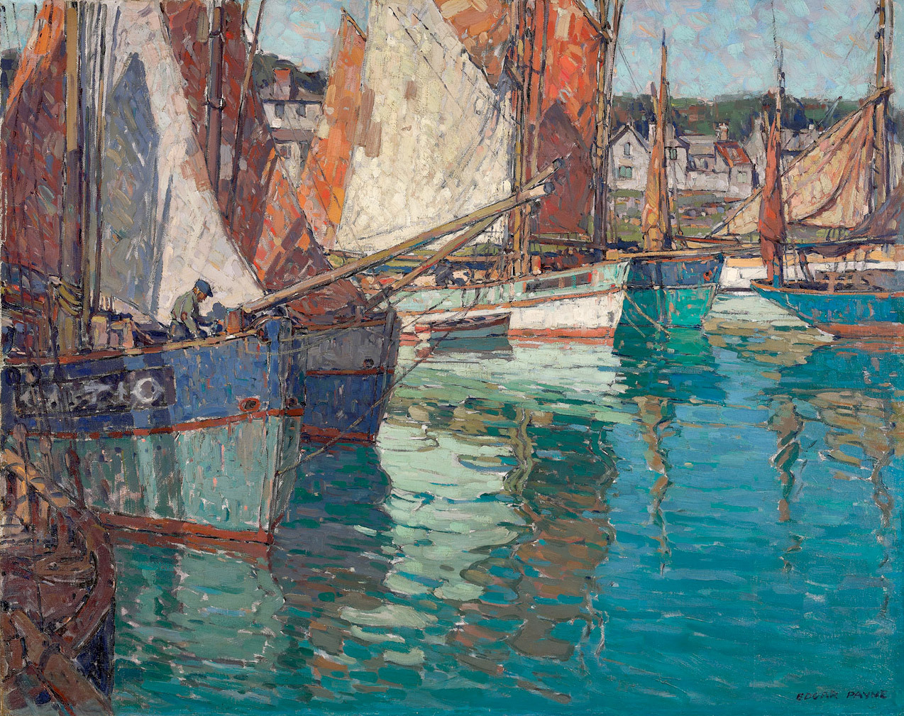 "paintingbox:""Edgar Alwin Payne (1882-1947). Breton Tuna Boats, Concarneau, France, c. 1924. Oil on Canvas 40 x 50 in."""