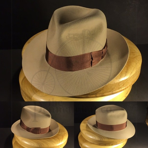 03c6f6a61be40 Just finished this bone colored bespoke fedora with vintage grosgrain ribbon.   penmanhats  OnlyPenman