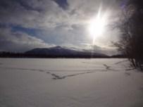 Snowy lake with ski tracks
