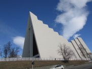 the Arctic Cathedral in Tromsdalen just across the bridge