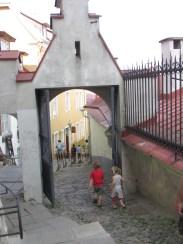 one of the many narrow cobblestone streets