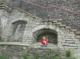 resting during the climb up the city wall