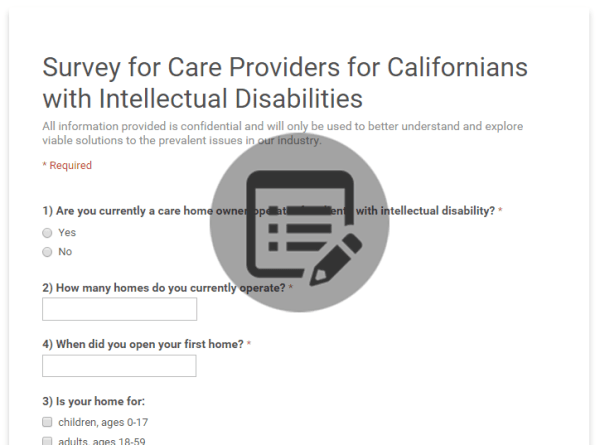 Survey for Care Providers for Californians with Intellectual Disabilities
