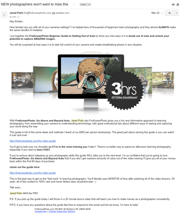 Promotional email example from FroKnowsPhoto