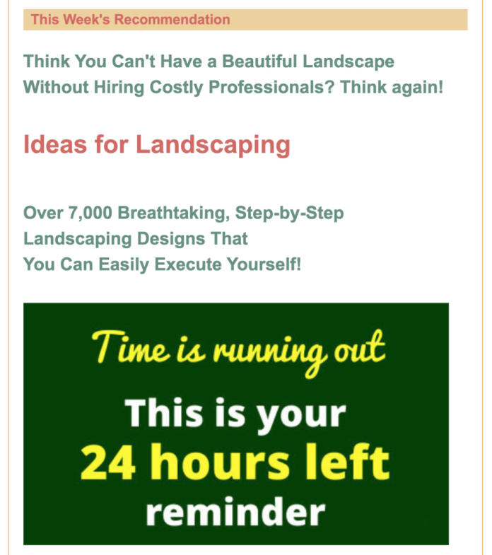 GetOrganziedNow.com affiliate offer with landscaping design product.