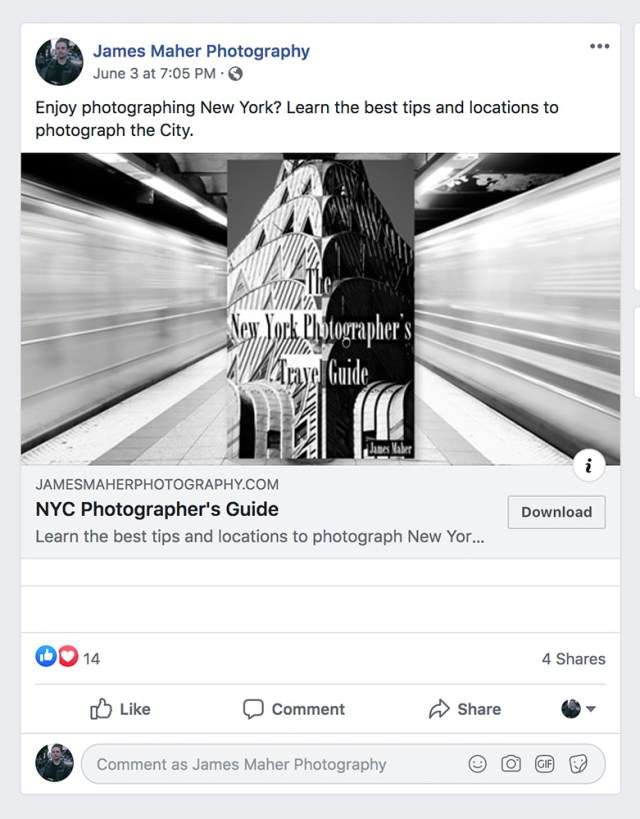 Example of a Facebook advertisement