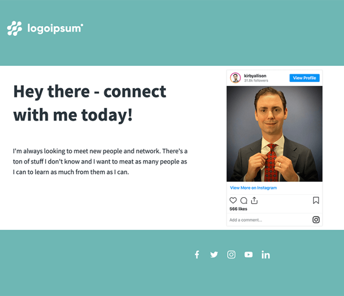 Landing page with embedded Instagram post