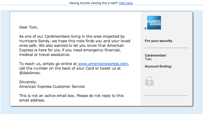 Sympathy email from American Express
