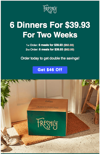an example of a limited time discount email sent from Freshly