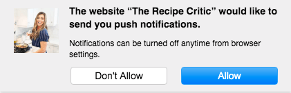 Example of a web push notification prompt to opt-in