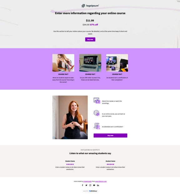 online course landing page template