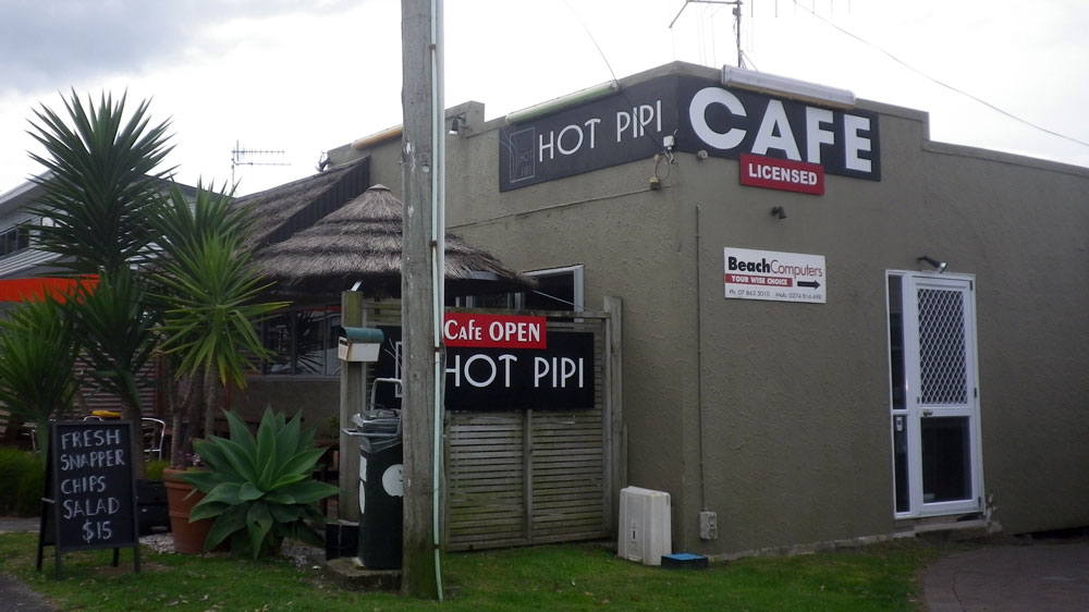 Hot Pipi Cafe in Waihi Beach nahe Hamilton Neuseeland