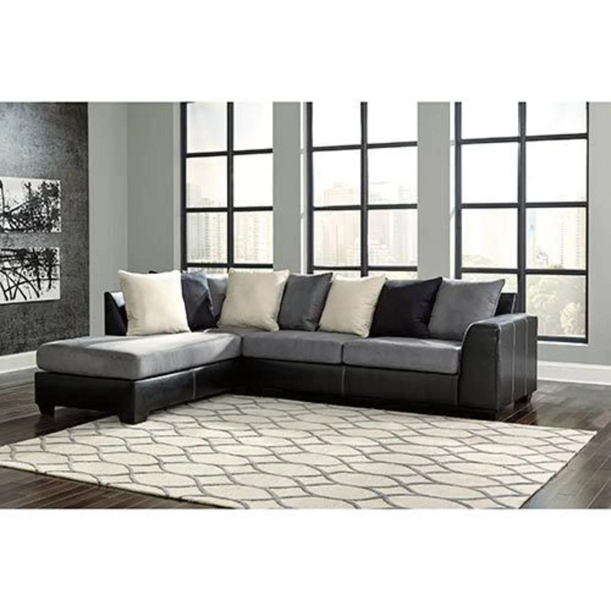 Signature Design By Ashley Jacurso Charcoal Corner Chaise Sofa Sectional