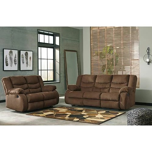 Signature Design By Ashley Tulen Chocolate Reclining Sofa And Loveseat