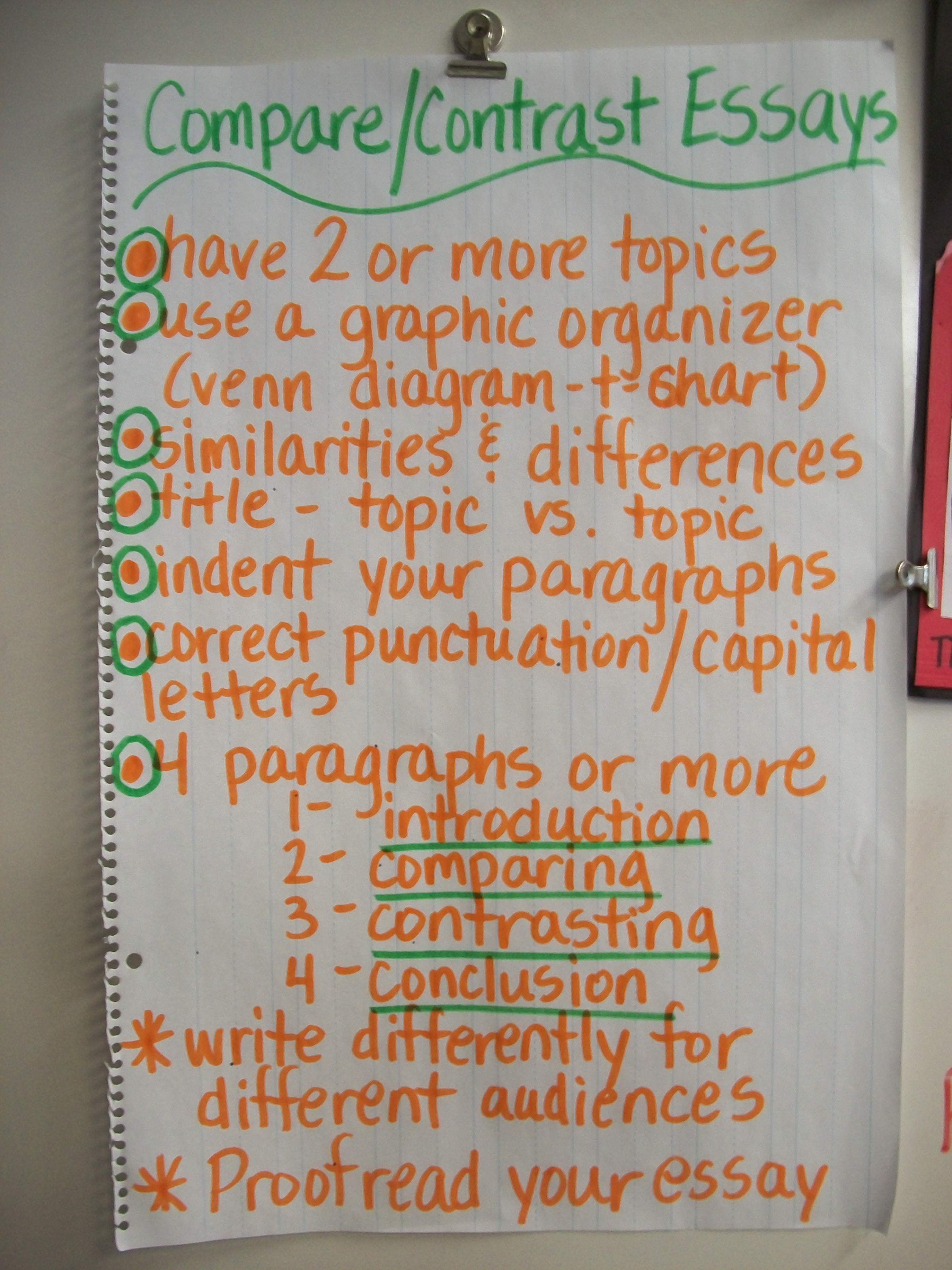 Compare And Contrast Essay Topics For 3rd Grade