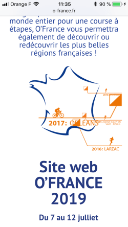 O-France 2018 page d'accueil inutilisable sur téléphone mobile