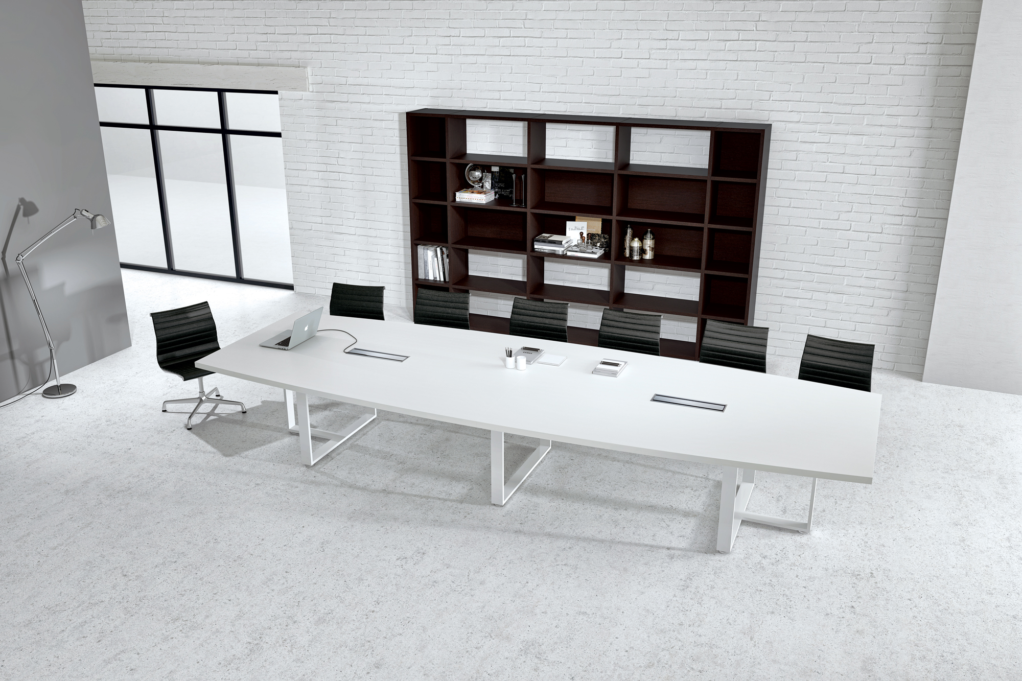 Large White Contemporary Boat Conference Table Ambience Dor