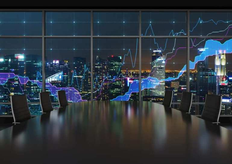 Stock markets: Stock market and an amazing night view of the business city area