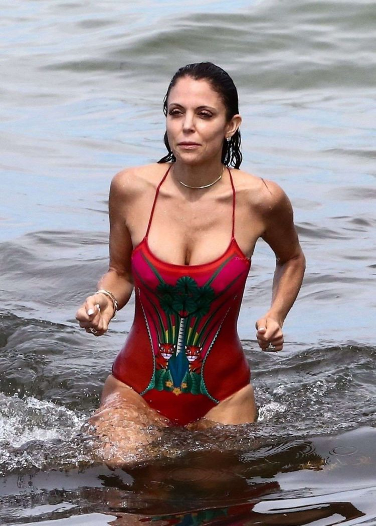 Bethenny Frankel In A Red Swimsuit At The Beach In Miami