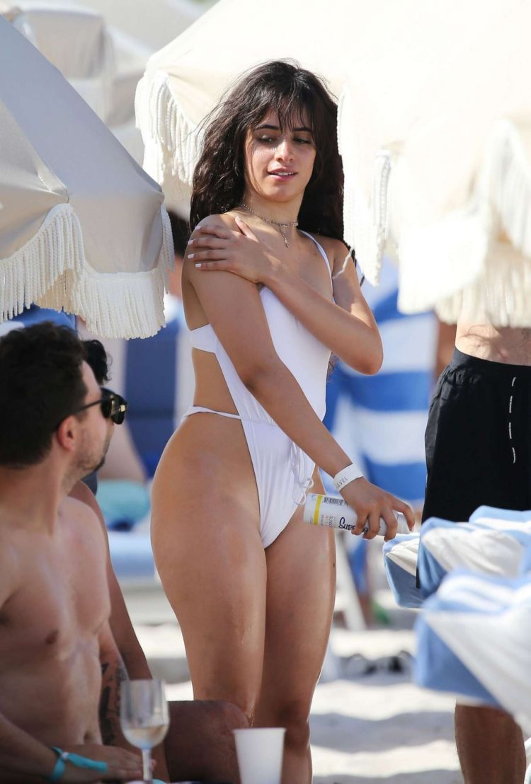 Camila Cabello Vacationing In A White Swimsuit At The Beach In Miami
