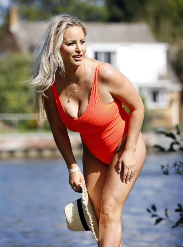 Danielle Mason In An Orange Swimsuit At The Riverside