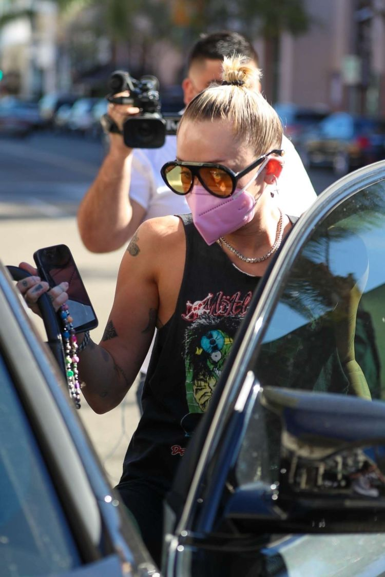 Miley Cyrus Spotted Walking Her Dog Out In Beverly Hills