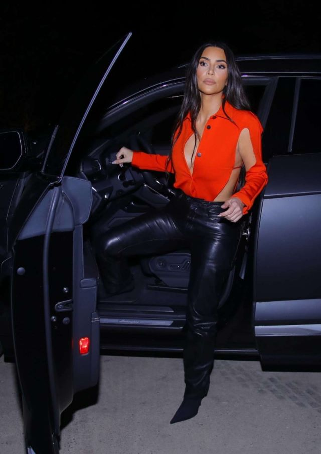 Kim Kardashian Spotted Black Leather Pants And Stilettos In Calabasas
