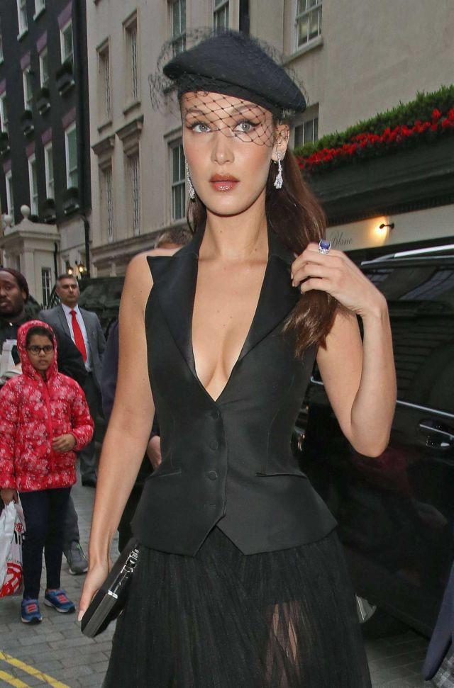 Bella Hadid Leaving Her Hotel In A Black Dress