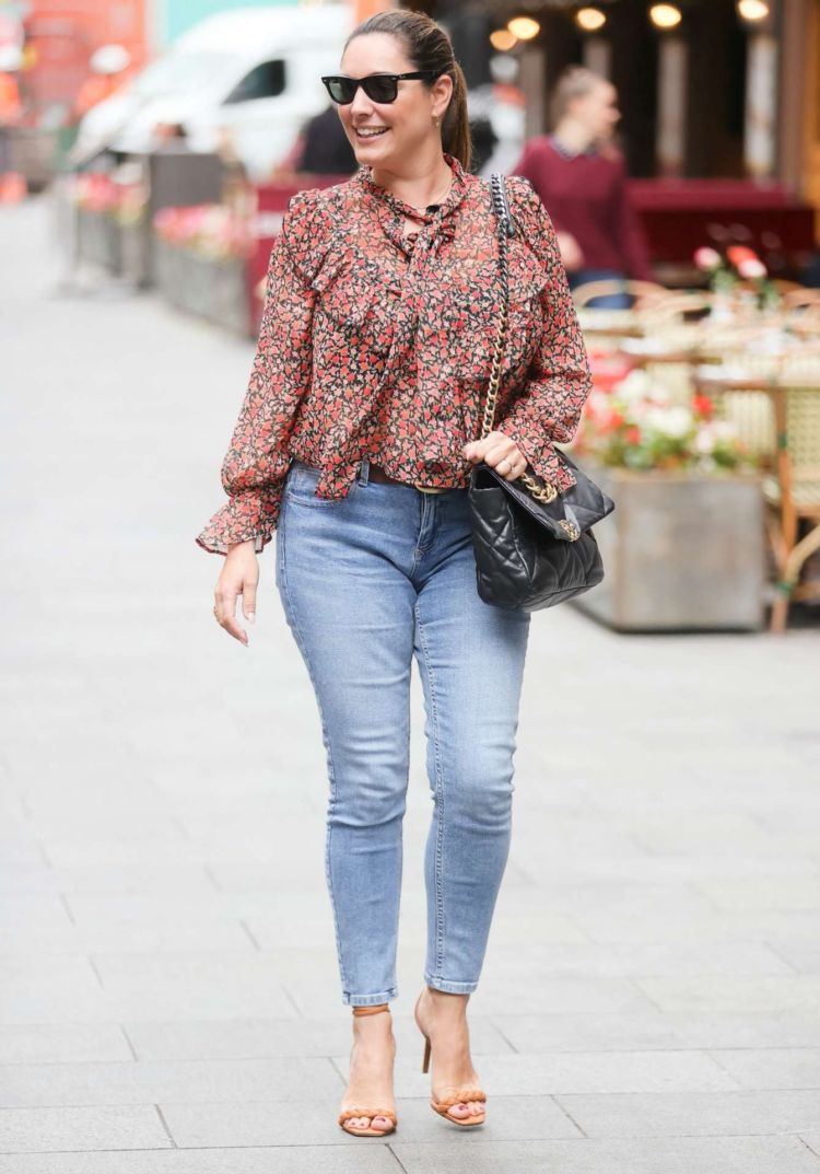 Kelly Brook Candids In Jeans At Heart Radio In London