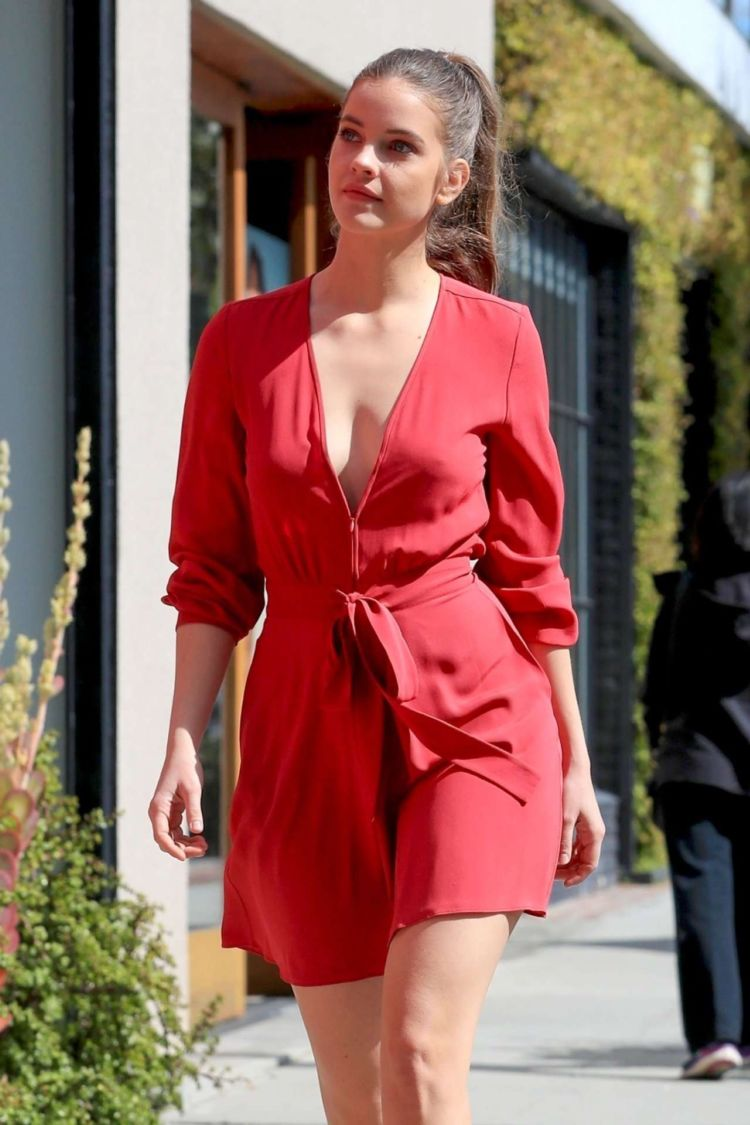 Barbara Palvin Out In A Red Dress In West Hollywood
