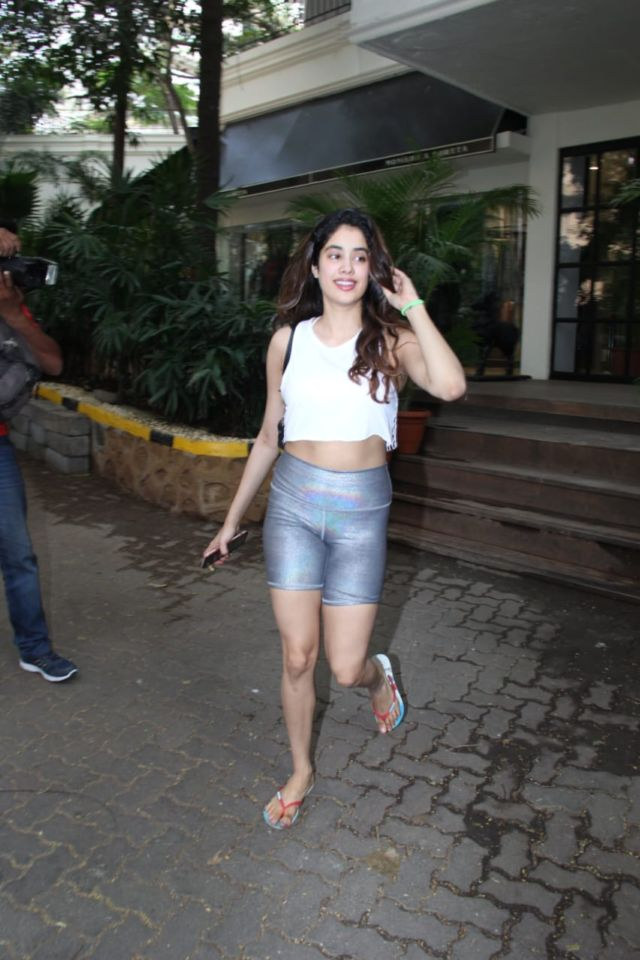 Pretty Janhvi Kapoor Candids In Silver Shorts