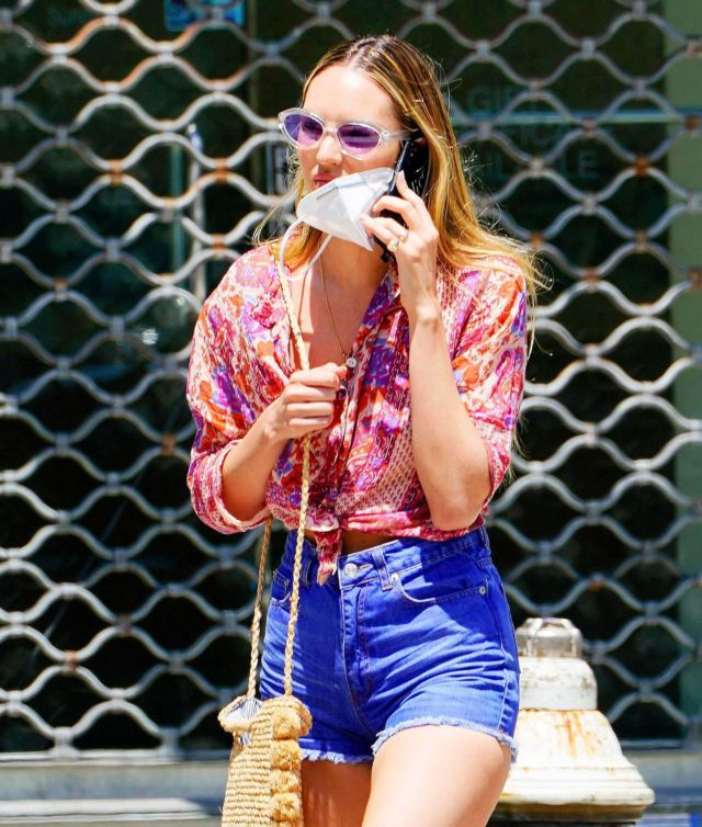 Candice Swanepoel Candids In Denim Shorts Out In New York