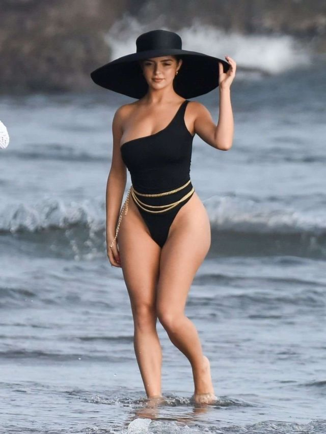 Demi Rose Mawby In A Black Swimsuit For A Photoshoot In Bali