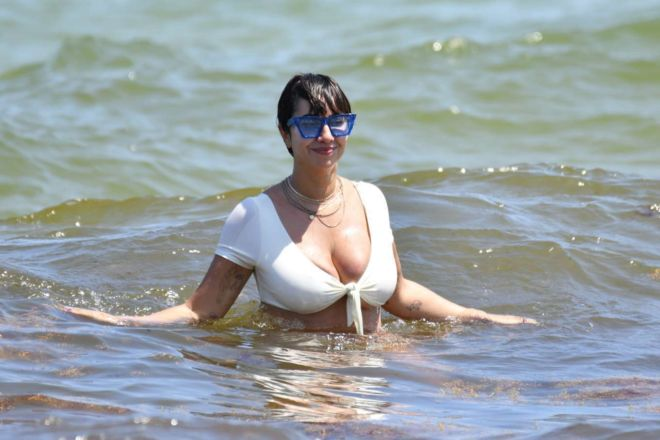Jackie Cruz Hits The Miami Beach In White Bikini