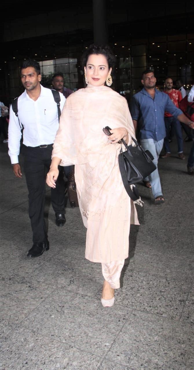 Kangana Ranaut Opts For Traditional Look At The Airport