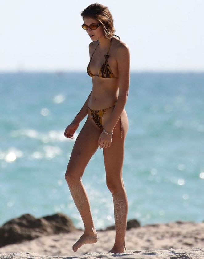 Kaia Gerber Vacationing In Bikini At A Beach In Miami