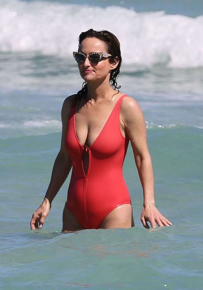 Giada De Laurentiis Vacationing In A Red Swimsuit