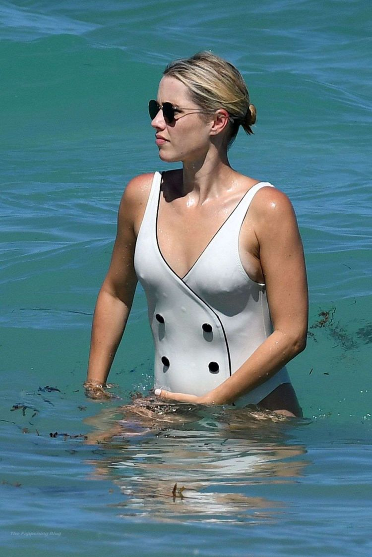 Claire Holt Vacationing In White Swimsuit At The Beach In Miami