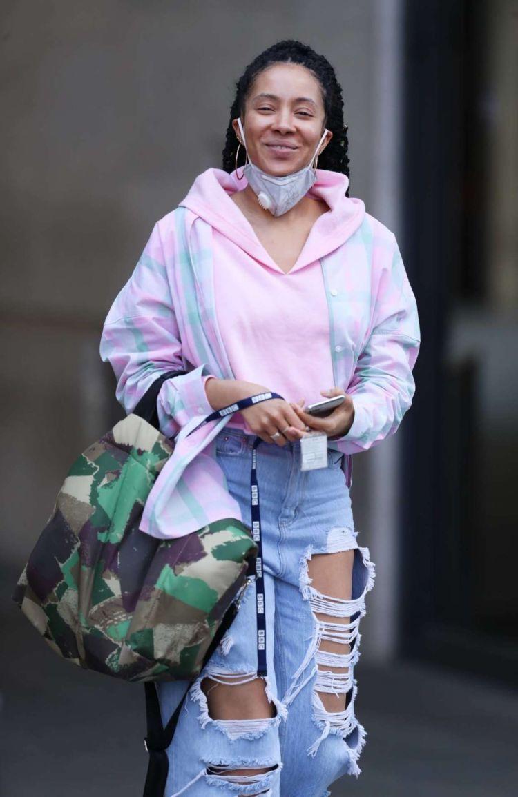 Yasmin Evans Candids In Torn Denim Jeans Leaving BBC House In London