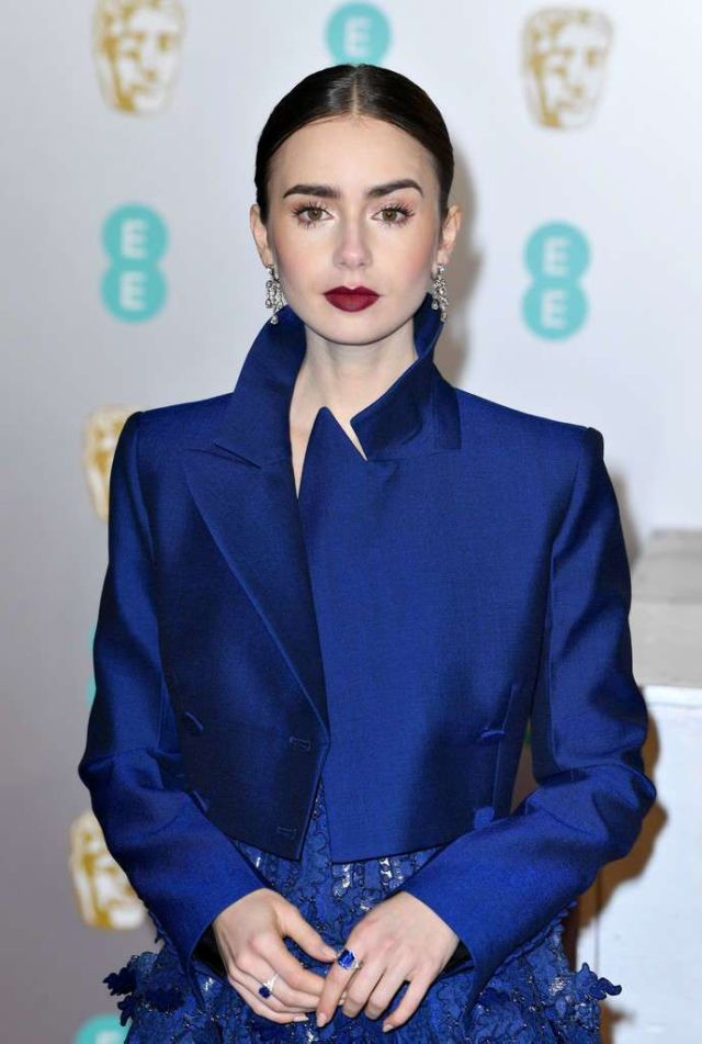 Gorgeous Lily Collins In Blue At EE British Academy Film Awards 2019