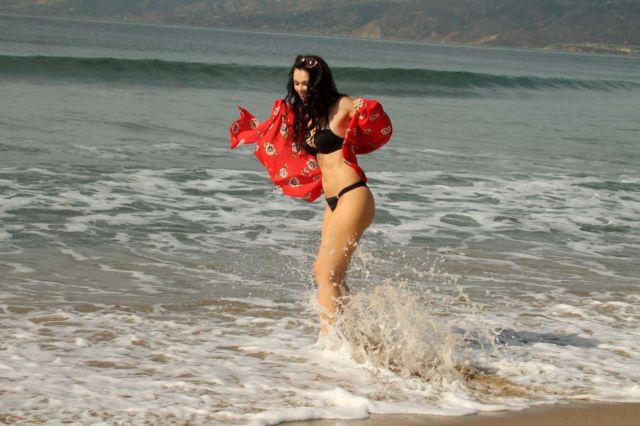Natasha Blasick Walking At The Beach In Black Bikini