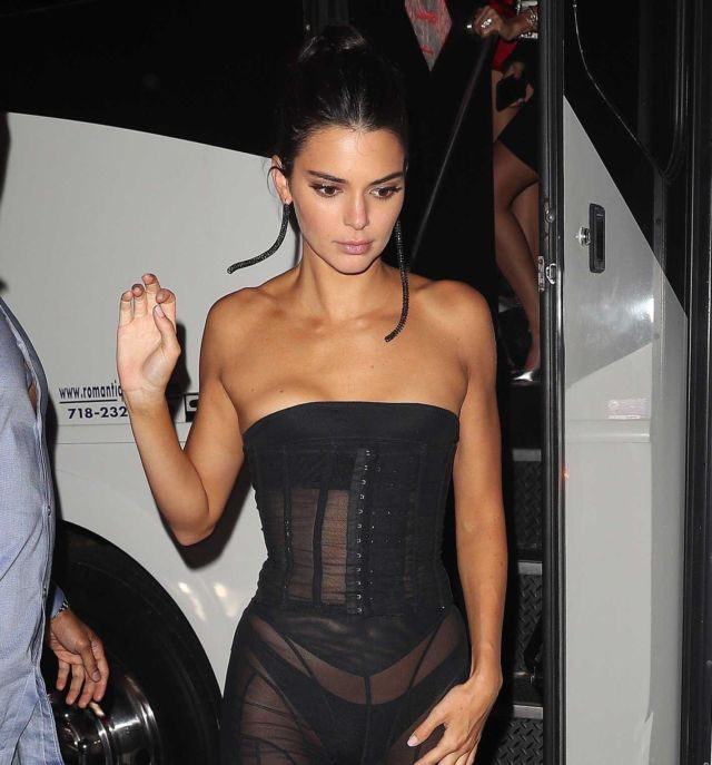 Kendall Jenner In Black Dress At 1 OAK Club In New York