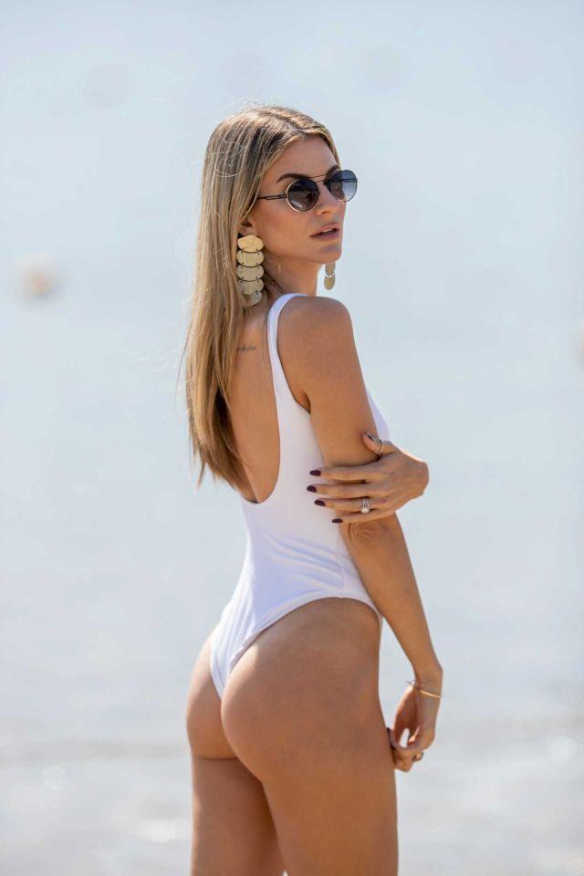 Rachel McCord Surfing In White Swimsuit In Santa Monica