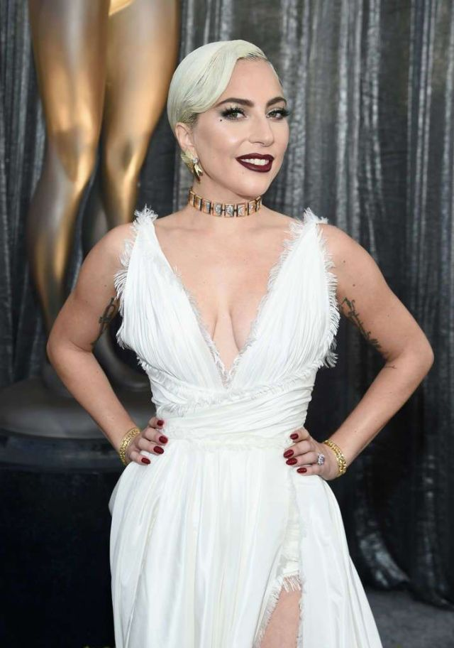 Lady Gaga In White Dress At The Screen Actors Guild Awards In LA