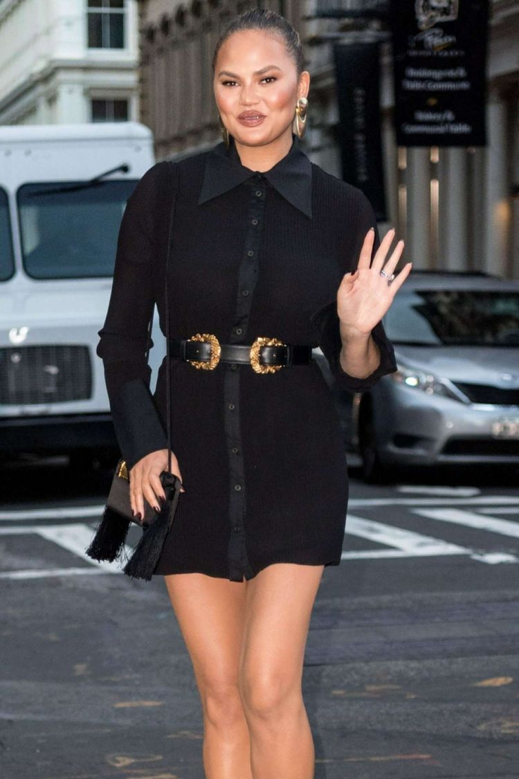 Chrissy Teigen In All-Black At A Store Opening Event