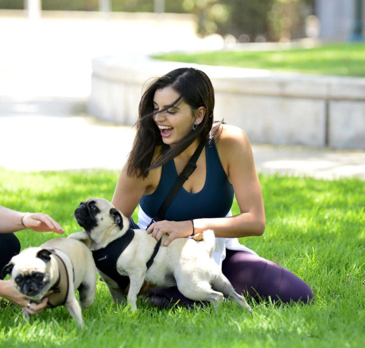 Pretty Rebecca Black Practicing Yoga In A Park