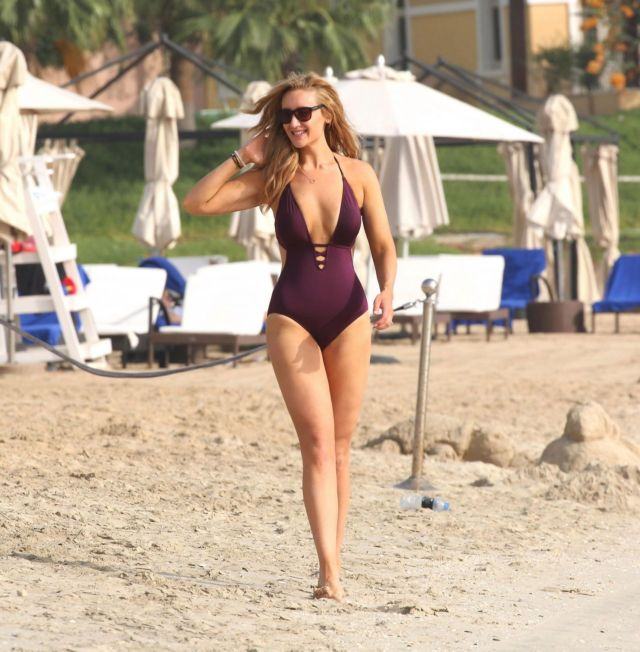 Catherine Tyldesley Playing Volleyball In Swimsuit