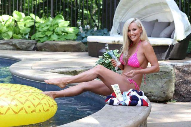 Jenny McCarthy's Bikini Photoshoot At A Swimming Pool In LA